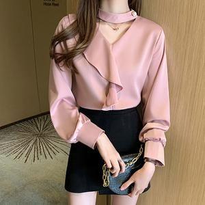 Korean Fashion Blouses Woman Silk Blouse V Neck Satin Blouse Shirts OL
