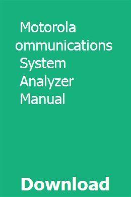Motorola Communications System Analyzer Manual | reatefhochsnet