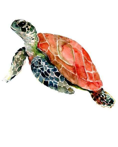 "Sea Turtle, turtle art, turtle design Mini Art Print by SurenArt - Without Stand - 3"" x 4"""