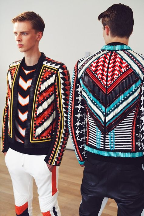 Backstage – Beaded jackets in geometric graphic pattern. Backstage at Balmain Spring 2015 Menswear. Photo: Marie-Amélie Tondu www. Highlight Description Beaded jackets in geometric.
