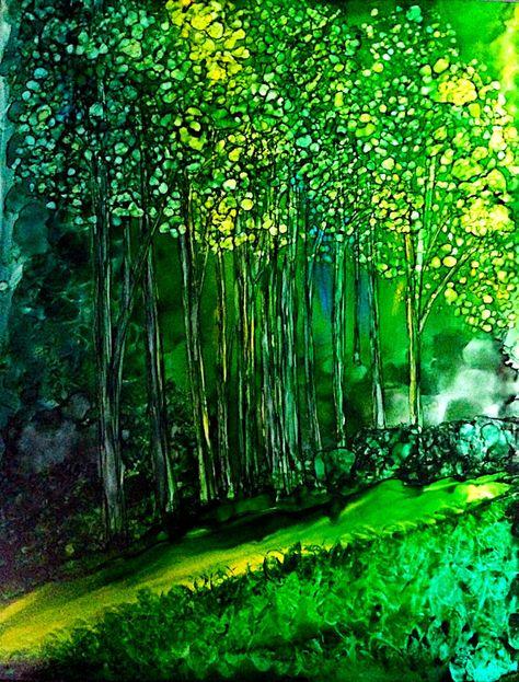Alcohol ink art. Sunlit Forest by KCsCornerGallery on Etsy, $60.00