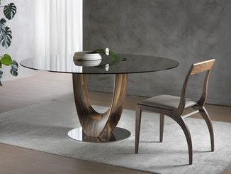 Round Wood And Glass Table Axis Round Table