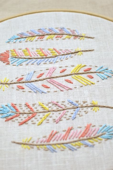 Feathers * Embroidery pattern PDF * Digital Download * hand embroidery patterns * design for nursery or kids room * NaiveNeedle