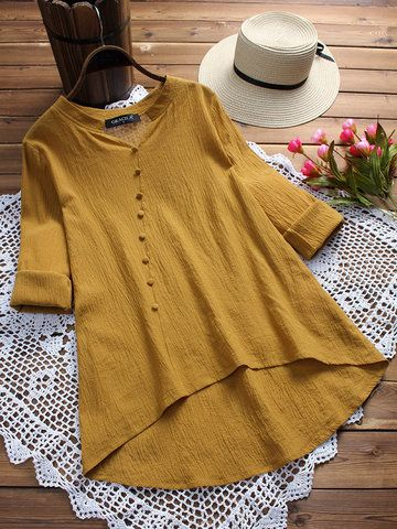 Vintage Pure Color Irregular Long Sleeve Blouses For Women