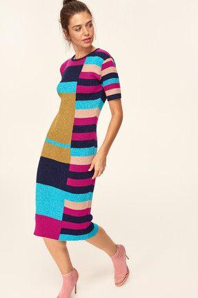 Trendyolmilla Yeni Cok Renkli Renk Bloklu Ve Simli Triko Elbise Triko Elbise Renkler