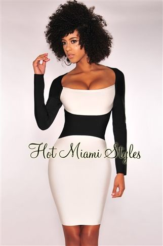 Black White Color-Block Hourglass Bandage Long Sleeves Dress ...