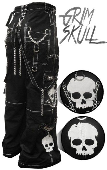 "Tripp NYC ""Grim Skull"" Bondage Pants Feature deep front pockets over sized back pockets and decorated cargo pockets and have enough storage to fit all your goodies and baddies."