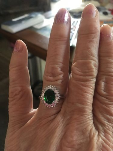 Princess Diana Emerald Ring For May Ladies Green Engagement