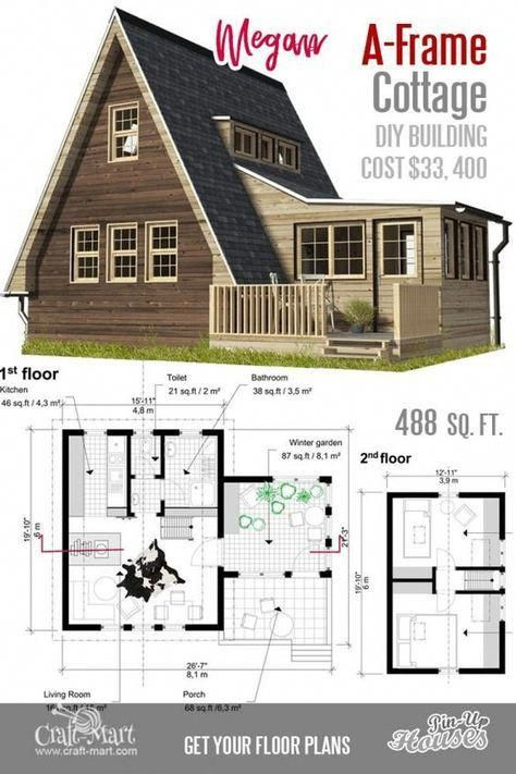What A Nice A Frame Small House Floor Plan It Can Be A Really Good Vacation Home For Two Tinyhouse A In 2020 Small Cabin Plans Small House Floor Plans Cottage Plan