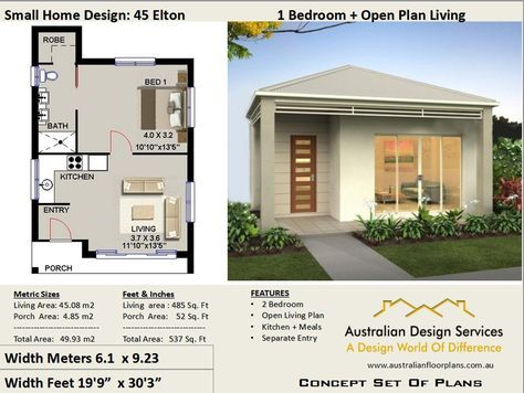 Small House Plan 45 Elton 537 Sq Foot 45 93 M2 1 Bedroom Etsy Small House Design One Bedroom House House Plans For Sale