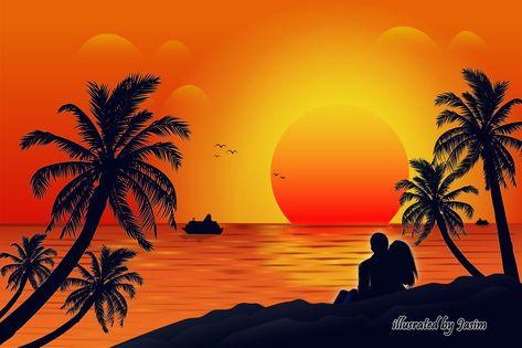 Beach Sunset Vector Illustration