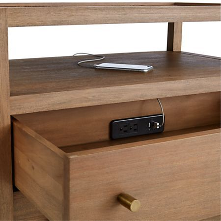 Keane Driftwood Solid Wood Charging Nightstand Reviews Crate