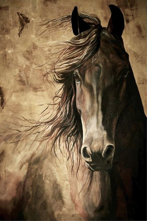 WISDOM – 12×18 inch horse print with flowing mane from orginal acrylic painting equine print home decor natural brown colors warmblood horse – Isabelle Guemard