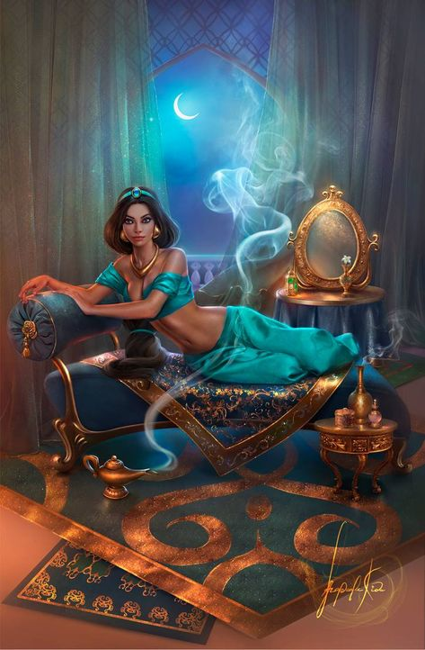 Arabian nights, like Arabian days, more often than not are hotter than hot in a lot of good ways. Disney Princess Pictures, Disney Princess Drawings, Disney Princess Art, Disney Fan Art, Disney Drawings, Princess Jasmine Art, Disney Jasmine, Aladdin And Jasmine, Heros Disney