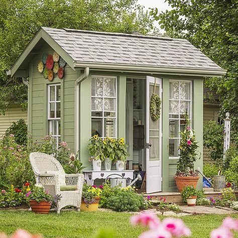30 Garden Shed Ideas to Copy - This cottage potting shed takes design cues from the main house, using the same earthy green and wh - Backyard Buildings, Backyard Sheds, Outdoor Garden Sheds, Garden Fencing, Style Cottage, Cottage Design, Cottage Homes, Shed Paint Colours, Shed Conversion Ideas
