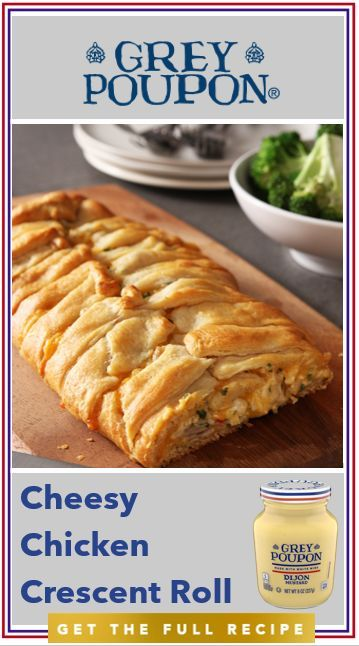 Some days you just need to treat yourself. Today, indulge in this Cheesy Chicken Crescent Roll made with flaky crescent rolls, fresh parsley, Grey Poupon, and perfectly prepared chicken. Baked Chicken Recipes, Turkey Recipes, Chicken Crescent Rolls, Cresent Rolls, Croissant, Great Recipes, Favorite Recipes, Crescent Roll Recipes, Cheesy Chicken