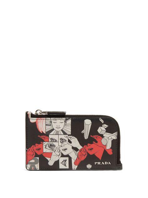 483ca4b1a80907 Prada comic-strip card holder at MATCHESFASHION.COM
