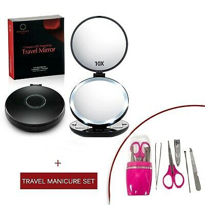 Advertisement 10x 1x Magnifying Led Lighted Travel Makeup Mirror