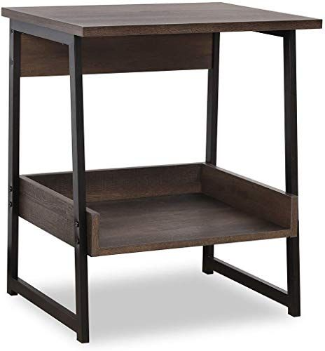 Enjoy Exclusive For Sekey Home End Table 2 Tier Side Table Storage Shelf Sturdy Easy Assembly Wood Look Accent Furniture Metal Frame Smoky Oak Online Side Table With Storage Oak Furniture Living