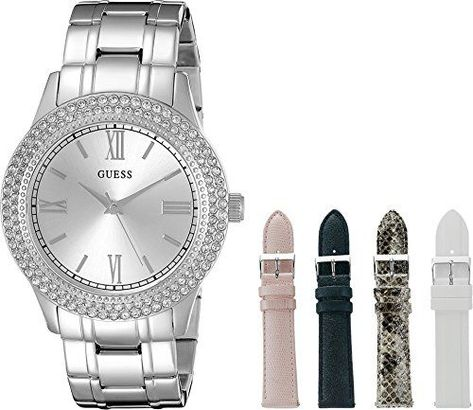 Guess Watch for Women GUESS Women's Luxurious Silver-Tone Watch Set with Metal Bracelet and 4 Interchangeable Straps Inside a Bonus Jewelry Box >>> You can find more details by visiting the image link.