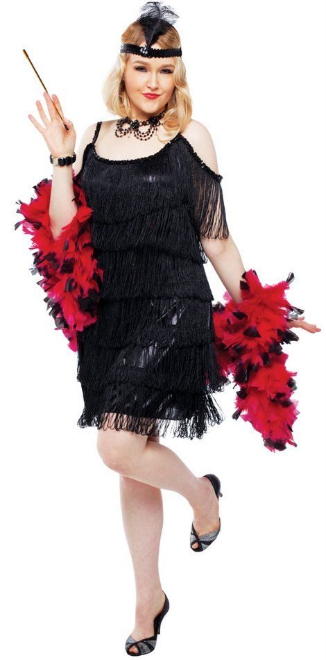 8b90bd1af6e Plus Size Black Manhattan Adult Flapper Costume