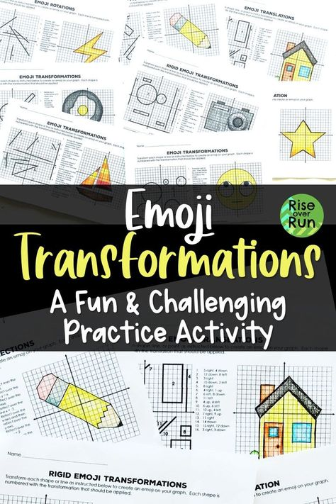 Transformations Practice Emojis Translate Reflect Rotate And Dilate 8th Grade Math Middle School Math Math Centers Middle School