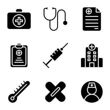 Medic Icon Set Include Aid First Kit Health Doctor Medic Medical Stethoscope Prescription Healthy Syringe Hospital Building Thermometer Plaster Nurse User User Health Doctors Hospital Icon Health Icon
