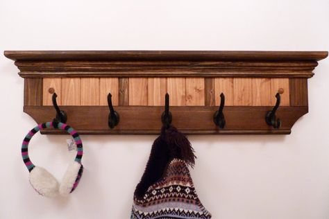 Entryway Coat Rack Wood Wall Shelf 32 Inches Full Color Pattern Antique Black Hooks Wall Coat Rack Rustic Coat Rack