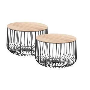 Lot De 2 Tables D Appoint Padova Paniers En Metal Tables A Cafe Tables Basses Rondes Bouts De Canape Vintage Decor Bois Naturel Bout De Canape Design Table Basse Ronde Bout De