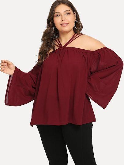 Plus Halter Solid Blouse Shein Plus Size Blouses Plus Size Women S Tops Plus Size