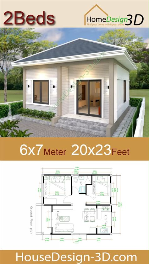 House Design 3d 6x7 Meter 20x23 Feet 2 Bedrooms Hip Roof The House has:  -Car Parking and garden -Living room, -Dining room -Kitchen -2 Bedrooms, 1 bathroom -washing room