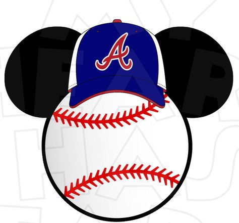 Atlanta Braves Baseball With Mickey Mouse Ears Instant Download Digital Clip Art My Heart Ha Atlanta Braves Baseball Braves Baseball Baseball Theme Birthday