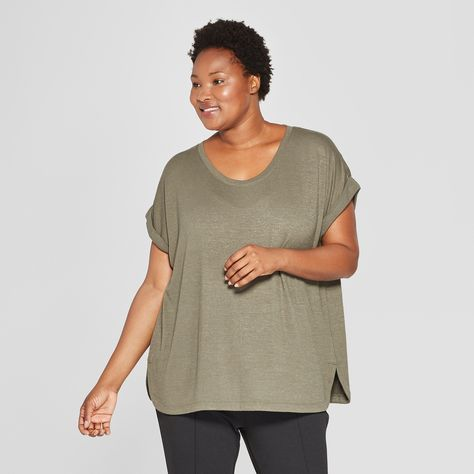 36260d63cc2 Women s Plus Size Textured Cuff Short Sleeve T-Shirt - Ava   Viv Olive ( Green) 4X