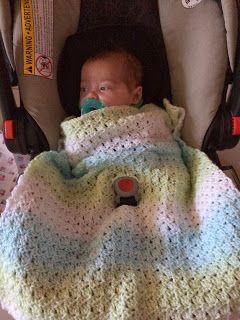 Baby Car Seat Blanket In Primrose Stitch By Be Bright - Free Crochet Pattern - (bebrightblog.blogspot)