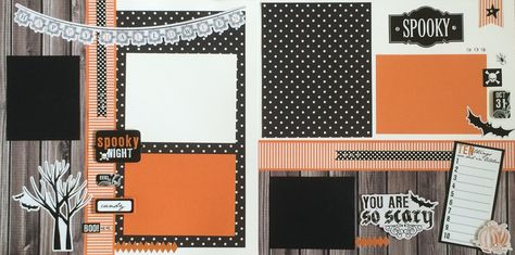 "This page kit comes with everything pre-cut and ready to glue. All you have to do is follow the color picture inside Kit Double Page 12x12 Layout. This page kit titled ""Happy Halloween"" created by Kar"