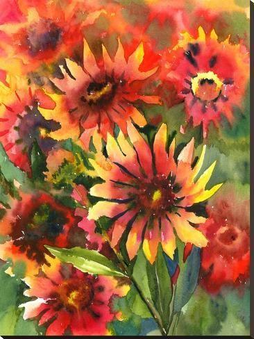 Blanket Flowers Stretched Canvas Print Suren Nersisyan Art Com In 2020 Flower Painting Original Flower Painting Stretched Canvas Prints