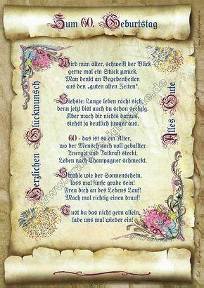 Gedicht 60 Geburtstag Gedichte Geschenk Präsent Jubiläum