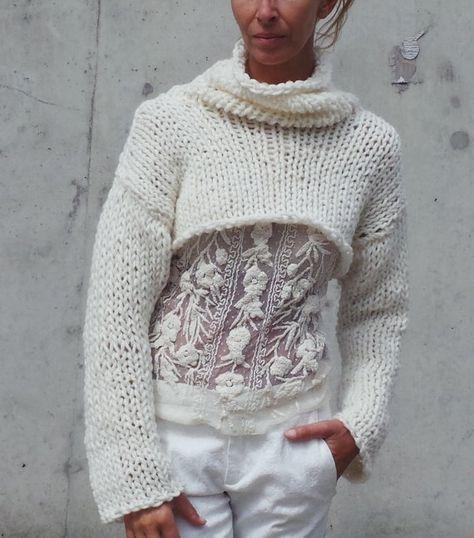 Ivory chunky cropped sweater snug shrug READY TO SHIP by ileaiye,