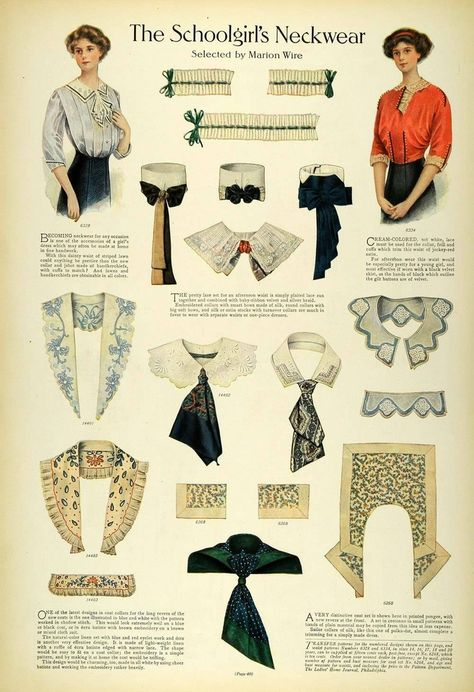 1911 Article Edwardian Fashion Children School Clothes Girls Dresses Accessories The schoolgirl's neckwear, Edwardian, 1911 1900s Fashion, Edwardian Fashion, Vintage Fashion, Vintage Beauty, Belle Epoque, Edwardian Clothing, Edwardian Era, Victorian, Retro Mode