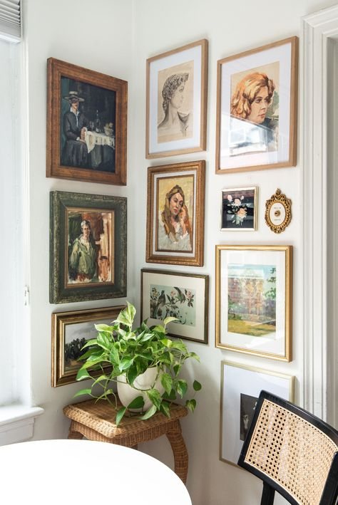 I took a small corner in my dining area and turned it into a full-on art display, thanks to my favorite framed pieces and a little creativity.