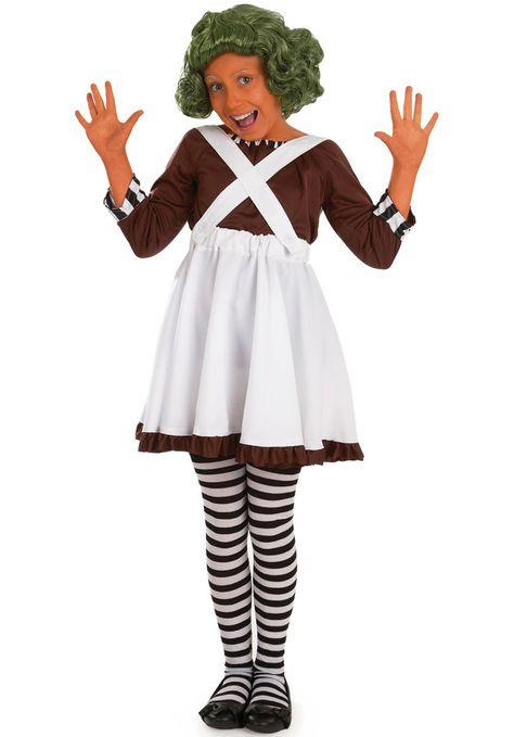 Kids Factory Worker Oompa Loompa Girl Costume - Children Fantasy Costumes at Escapade