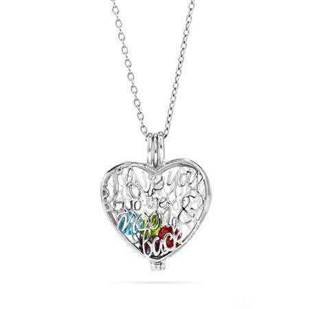 Retro Engraved I Love You Lockets Necklace Heart Shape Pendant with January Birthstone Crystal