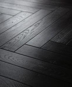 Black Laminated Oak Herringbone Wood Blocks London Stock 101mm X 12 3mm X 606mm Easy Fit Black Laminate Flooring Herringbone Wood Floor Black Wood Floors