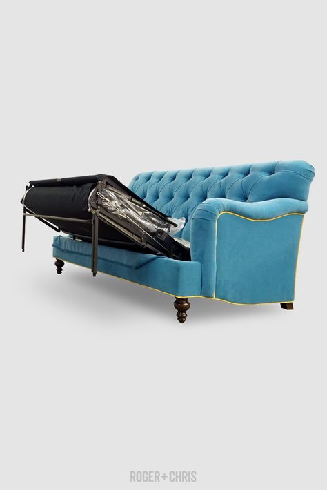 80 Alfie Sleeper Sofa In Porto Prussian With Thompson Sunflower Contrasting Welt Roger Chris In 2020 Sleeper Sofa Custom Sofa Tight Back Sofa