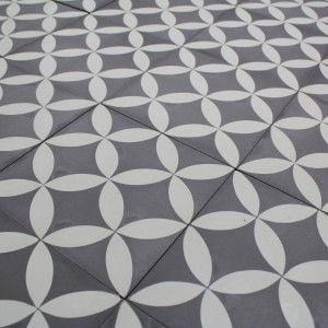 Carreau Ciment Motif Artisanal Fait Main Acacia Grey Gris Et Blanc
