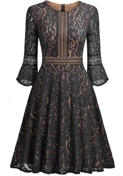 Vintage black midi dress with lace neckline