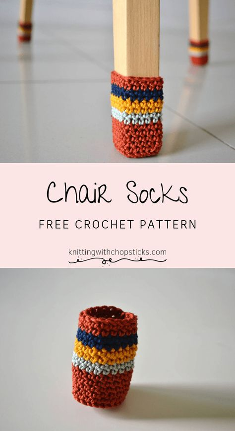 ) Chair Socks & Knitting with Chopsticks The post Chair socks free crochet pattern (free PDF!) & Häkeln appeared first on Free . Crochet Pattern Free, Crochet Diy, Crochet Home, Crochet Crafts, Knitting Patterns, Crochet Ideas, Diy Crafts, Crochet Stitch, Crochet Blanket Patterns