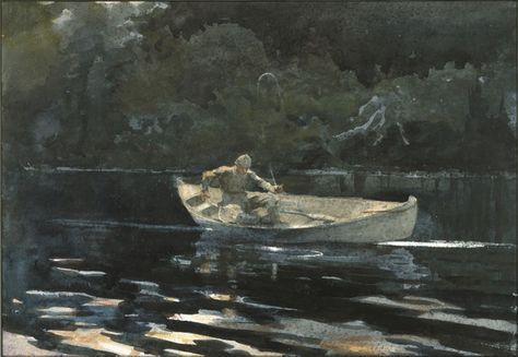 Lake St Quananiche John  by Winslow Homer  Paper Print Repro