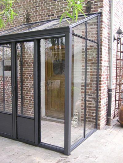 Windfang, Vordach, Eingangsbereich, Stahl / Glas, anthrazit, Klinker / Rotklinker / Backstein