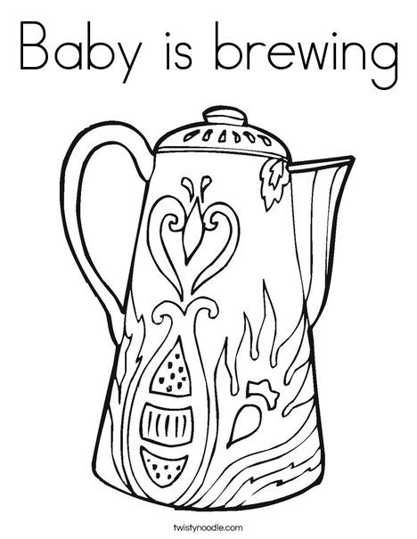 Baby Is Brewing Coloring Page Cursive Twisty Noodle Coloring